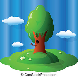 Nature view - Cartoon like outdoor view of summer scenics