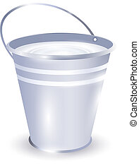 bucket with milk - metal bucket with milk over white...