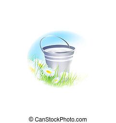 bucket with milk - metal bucket with milk over summer meadow...