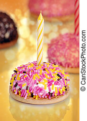 Birthday cake in abstract background