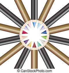 circle of make up pencils