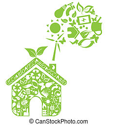 Eco house - Green house with eco symbols