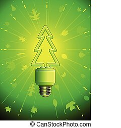 Green energy lightbulb - Tree shaped lightbulb symbolizing...