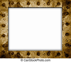 rusty metal frame isolated