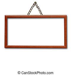 de madera, marco, ahorcadura, pared, aislado