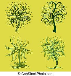 set of spring tree design elements