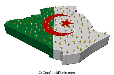 Algeria map flag with many people