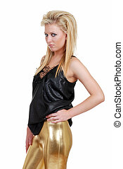 blond woman with gold pants