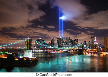 Remember September 11 New York City Manhattan panorama view...