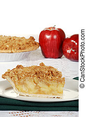 apple crumble with fresh fruit with white background