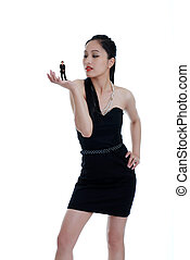 Asian woman sizing up her date - isolated Asian woman sizing...