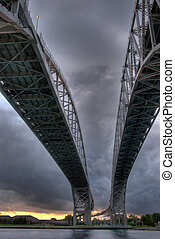 Bridge - two bridges with storm dramatic sky