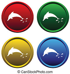 Plastic buttons with a dolphin - Four multi-colored, plastic...