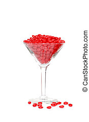 candy hearts in a martini glass