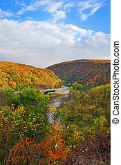 Delaware Water Gap panorama in Autumn with colorful foliage...
