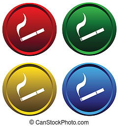 Four buttons with a cigarette