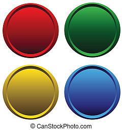 Four plastic buttons