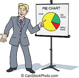 Businessman presenting piechart - Businessman presenting a...