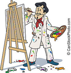 French painter painting on a canvas.