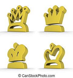 四, 皇家,  -, 王冠, 黃色