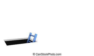 a rectangle hole in the white ground - metallic blue ladder to climb out - whitespace on the right for your content