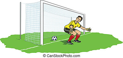 Goalkeeper bypassed - A soccer goalkeeper is surprised to...