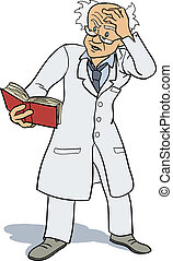 Professor studying book - A professor or scientist is...