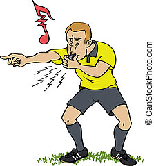 Soccer referee whistling for a foul in a match.