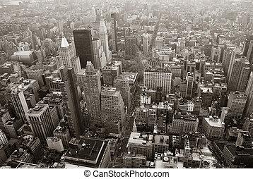 ville, aérien, Horizon, noir,  York, nouveau, blanc,  Manhattan, vue