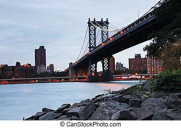 New York City Manhattan Bridge over Hudson River with...