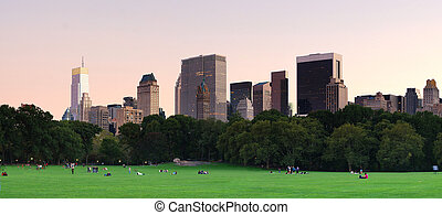 New York City Central Park at dusk panorama with Manhattan...