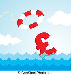 lifebuoy and a pound sign - Sinking pound sign and the...