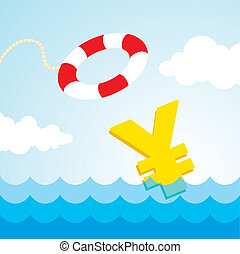 lifebuoy and a yen sign - Sinking yen sign and the flying...