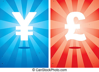 Illustrations of signs the yen and