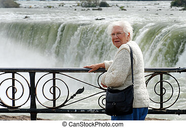senior woman at niagara falls