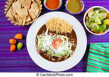 Mole enchiladas mexican food with chili sauces and nachos...