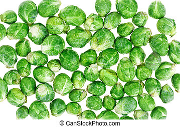 Brussels sprouts isolated on white macro background