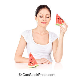 Young attractive woman with water melon