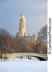 New York City Manhattan Central Park panorama in winter with...
