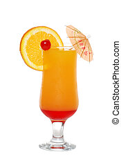 tequila sunrise with an umbrella - isolated tequila sunrise...