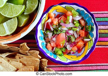 Pico de gallo tomato and chili Mexican sauce serape...