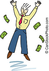 Successful Happy Man - A happy business man jumping and...