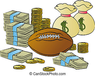 Football and Money - A football surrounded by money and...