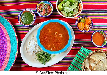 Pancita mondongo mexican soup varied chili sauces Mexico...
