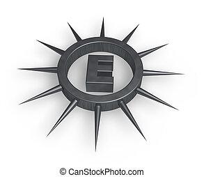 spiky letter e
