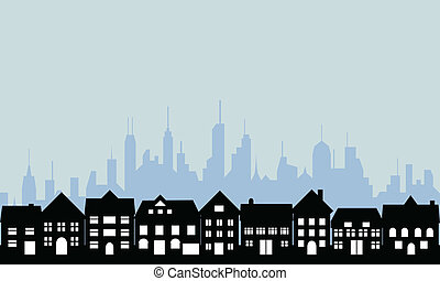 Suburbs and urban city - Suburban homes and big city