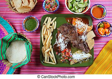 Arrachera, carne de vaca, flanco, filete, mexicano, plato,...