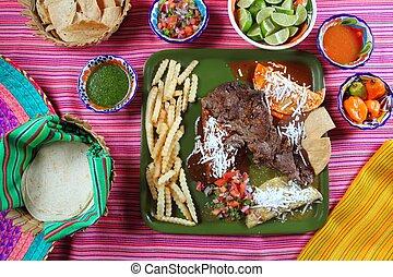 mexicano, carne de vaca, arrachera, flanco, plato, chile,...