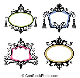 Set of vintage frames - Set of black vintage frames on white...