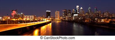 Panoramic Skyline of Philadelphia by night by night -...